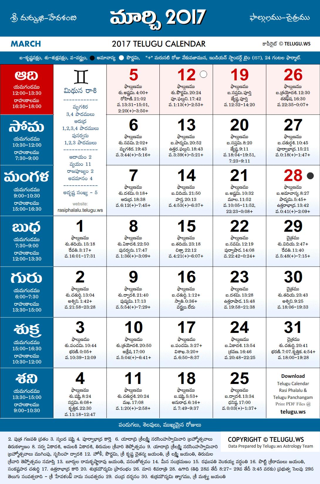 Calendar 2018 April Month Telugu